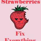 Strawberries Fix Everything Food Humor Cartoon - Rectangle Refrigerator Magnet