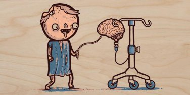 """Zombie Drip"" Hospital Brain Tube IV Funny - Plywood Wood Print Poster Wall Art"