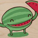"""Slice of Happiness"" Watermelon Slice Smile - Plywood Wood Print Poster Wall Art"