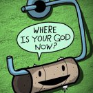 """Toilet Paper God Funny Empty Roll """"Where's God?"""" - Rectangle Refrigerator Magnet"""