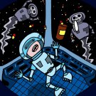 Space Pills Funny Astronaut Aliens Popping Pills - Rectangle Refrigerator Magnet
