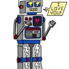 80's Love Robot Cute Vintage Robot w/ Feelings - Rectangle Refrigerator Magnet