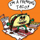 Freakin Taco Funny Mexican Food Cartoon - Rectangle Refrigerator Magnet