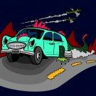 Dino Car Funny Dinosaur Lizard Car Cartoon Drive - Rectangle Refrigerator Magnet