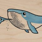 """Barnacle Beard"" Whale & Sword Fish Barber - Plywood Wood Print Poster Wall Art"