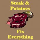 Steak & Potatoes Fix Everything Food Humor Cartoon - Vinyl Sticker