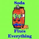 Soda Fixes Everything Food Humor Cartoon - Vinyl Sticker