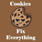 Cookies Fix Everything Food Humor Cartoon - Vinyl Sticker