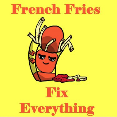 French Fries Fix Everything Food Humor Cartoon - Vinyl Sticker
