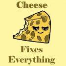Cheese Fixes Everything Food Humor Cartoon - Vinyl Sticker