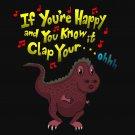 If You're Happy.. Can't Clap Funny Tyrannosaurus Rex Dinosaur - Vinyl Sticker