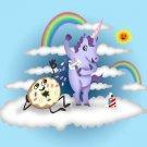 Donut Unicorn Shaving in Clouds Funny Mystical Cartoon Artwork - Vinyl Sticker