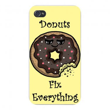 Donuts Fix Everything Food Humor - FITS iPhone 5 5s Plastic Snap On Case