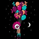 """""""Last Laugh"""" Suicide Clown Hanging From Balloons - Rectangle Refrigerator Magnet"""