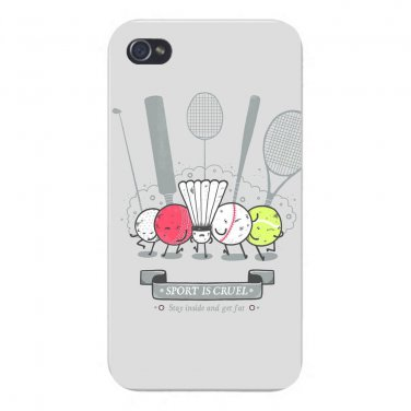 """Sport is Cruel"" Fun Get Fat Sport Gang - FITS iPhone 5 5s Plastic Snap On Case"