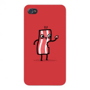 """I'm Delicious"" Bacon Slice Eats Itself - FITS iPhone 4 4s Plastic Snap On Case"