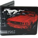 Ford Mustang 1965 Red Car Design w/ Horse Logo Auto Bi-Fold Wallet