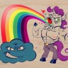 """Unicorn Rainbow Puke"" w/ Smiling Cloud - Plywood Wood Print Poster Wall Art"