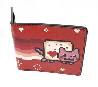 Nyan Cat Japanese Cartoon Video Sensation- Valentine Red Cat Bi-Fold Wallet