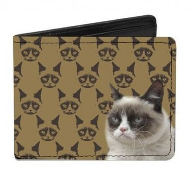 Grumpy Cat - Cat Faces Repeating on Bi-Fold Wallet