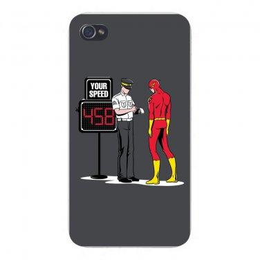 """Speed Trap"" Super Hero Speeding Parody - FITS iPhone 4 4s Plastic Snap On Case"