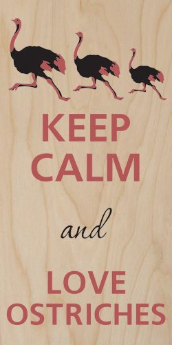 Keep Calm & Love Ostriches - Plywood Wood Print Poster Wall Art