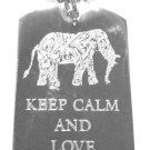 Military Dog Tag Metal Chain Necklace - Keep Calm and Love Elephants