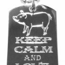 Military Dog Tag Metal Chain Necklace - Keep Calm and Love Bacon Pork w/ Pig