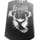 Military Dog Tag Metal Chain Necklace - Cross w/ Flying Dove Christian Theme