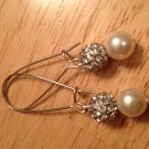 Swarovski Cream Pearl and Rhinestone Ball Earrings