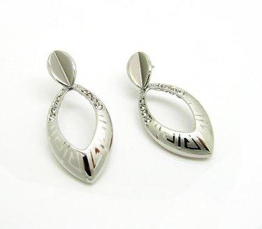 Silver Greek Key Drop Earrings