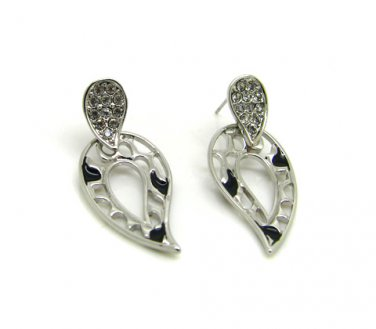 Silver and Black Leaf Earrings