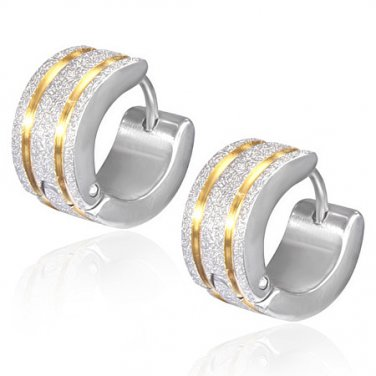Wide Silver Sandblasted with Two Gold Stripe Huggie Earrings