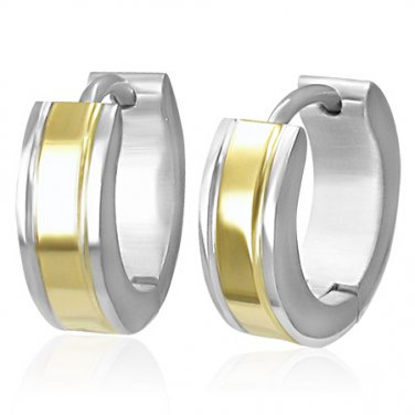 Two Tone Silver and Gold Huggie Earrings