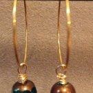 Teal and Gold Bead Hoop Earrings