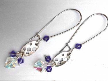 Silver Long Earrings with Purple Swarovski