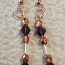 Rose Gold and Purple Beaded Long Bar Earrings