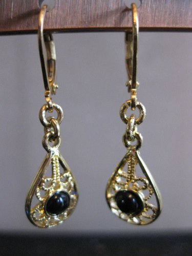 Gold and Black Lever Back Earrings