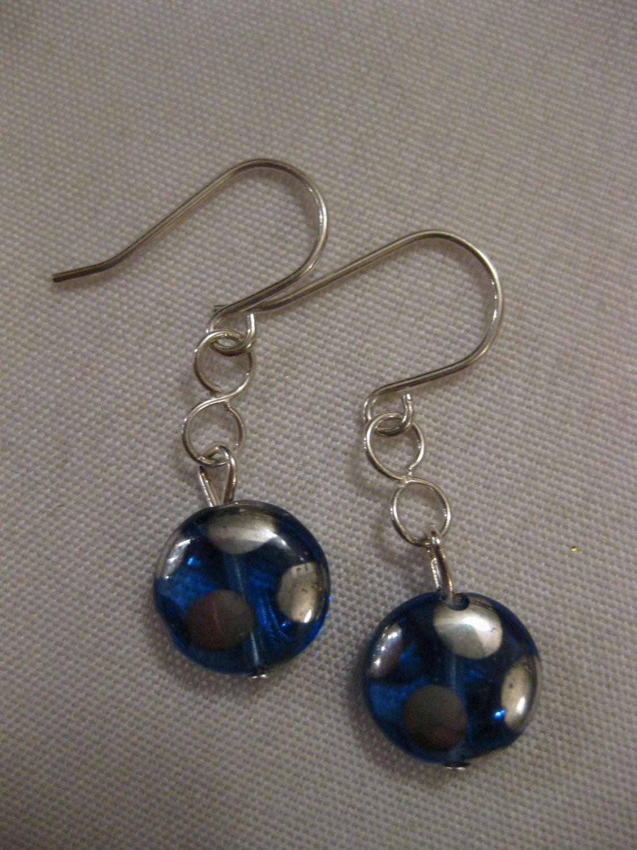Blue and Silver Polka Dot Earrings