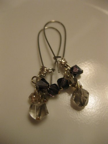 Purple/Grey Swarovski Crystal Cluster Earrings