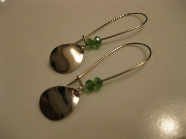 Long Teardrop Charm Earrings with Green Swarovski Crystals