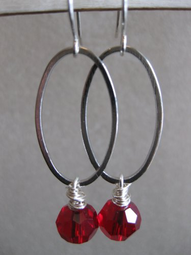 Red Swarovski Crystals on Silver Oval Earrings