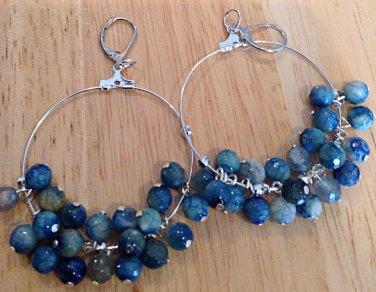 Blue Agate Hoop Earrings