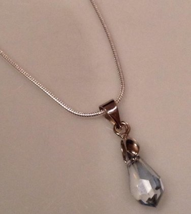 Simple Blue Shadow Swarovski Pendant on Sterling Silver Necklace