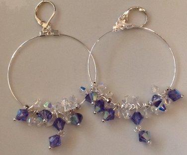 Purple and Crystal Cluster Sterling Silver Hoop Earrings