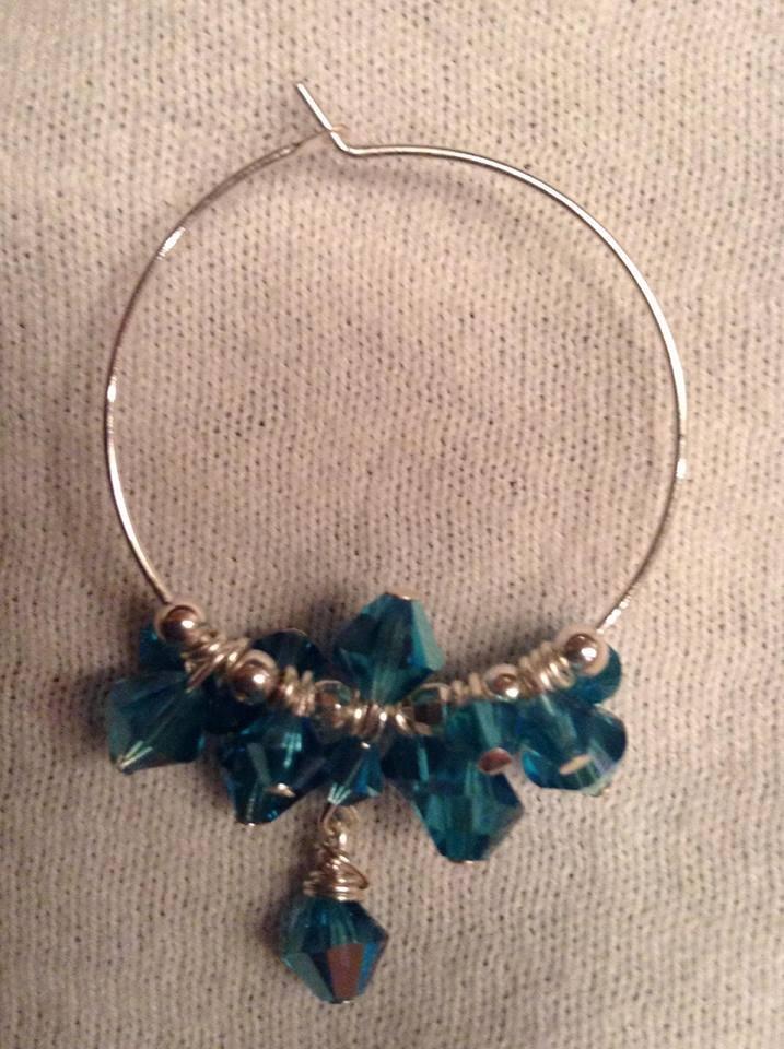 Teal Swarovski Crystal Sterling Silver Hoop Earrings
