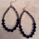 Black and Silver Oval Hoops