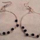 Black Swarovski Twist Hoop Earrings