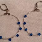 Twisted Blue Swarovski Crystal Hoop Earrings
