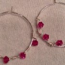 Sterling Silver with Twisted Fushia Swarovski Crystal Earrings